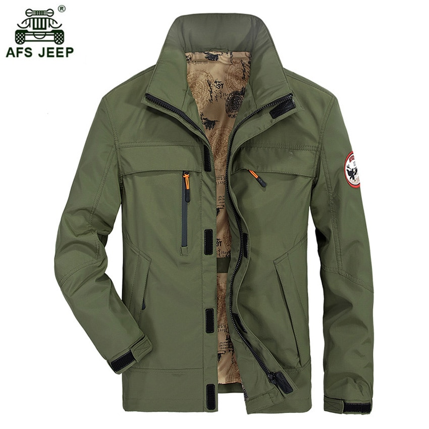 2017 Afs jeep Brand Jacket Men Fashion Casual Jacket Spring Autumn Coat Solid Zipper Jacket Free Shipping 132zr