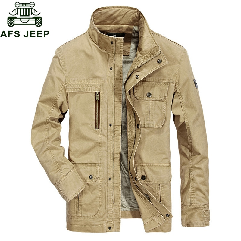 Afs Jeep 2018 Autumn Winter New Mens Jackets And Coats Thick Warm Fleece Jacket Men Casual Army Military Windbreaker Outerwear