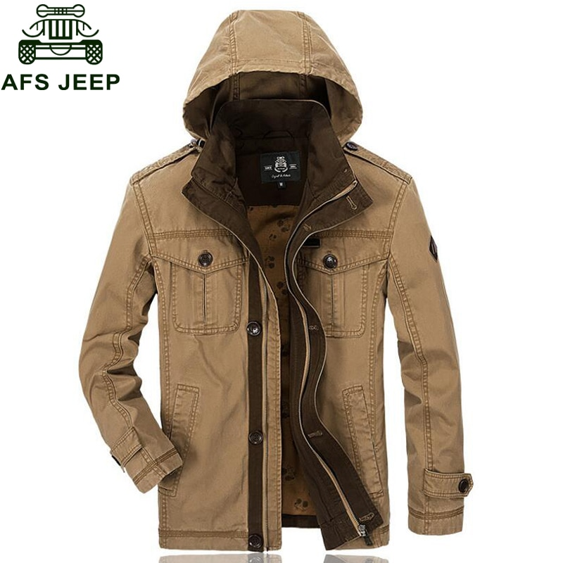 Afs Jeep Brand 2018 Mens Jackets Autumn Winter Military Windproof Mens Outerwear Casual Hooded Stand Collar Multi-pockets Coats