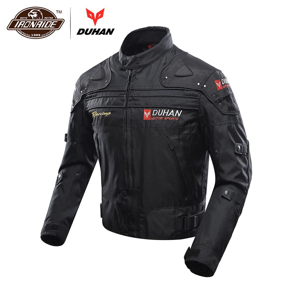 DUHAN Motocross Jacket Moto Windproof Cold-proof Men Motorcycle Jacket Armor Touring Motorbike Jacket Protective Gear Clothing
