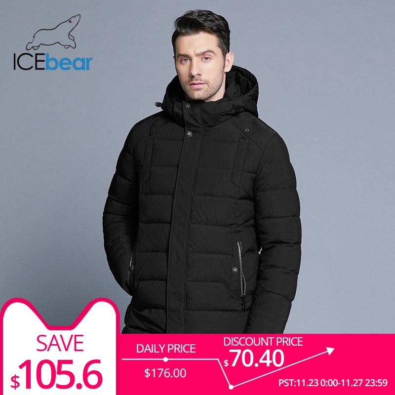 ICEbear 2018 new men's winter jacket warm detachable hat male short coat fashion casual apparel man brand clothing MWD18813D