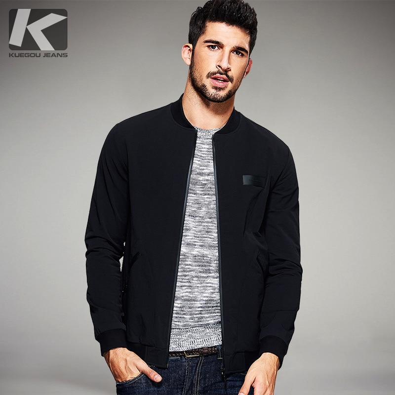 KUEGOU New Spring Mens Casual Jackets And Coats Thin Black Color Brand Clothing For Man's Slim Fit Clothes Male Wear Tops 2067