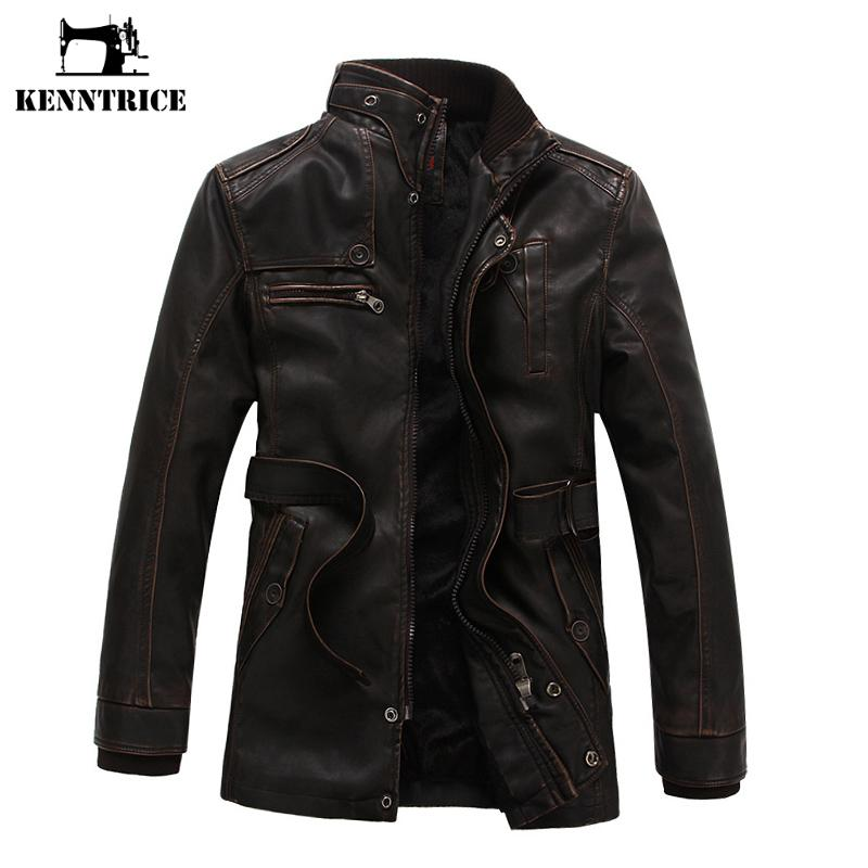 Kenntrice Autumn Winter Men's Leather Trench Coat Long Double Breasted Brand Sheepskin Fur Coat Jaqueta Couro Leather Jacket Men