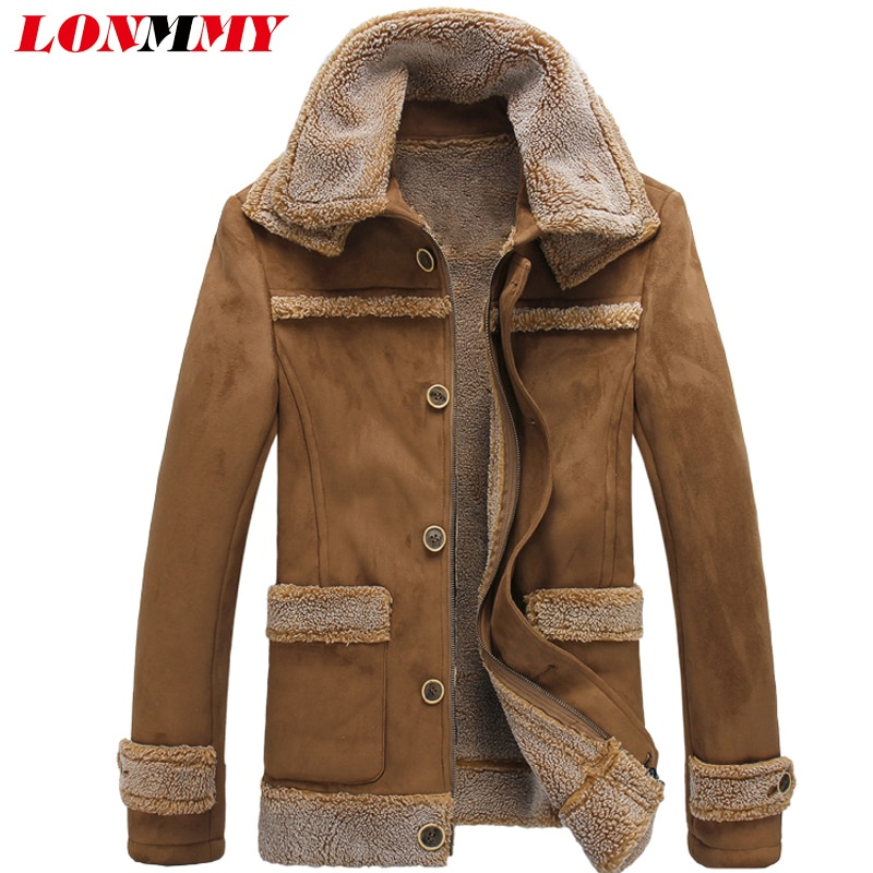 LONMMY 5XL Fur collar jacket men coats Slim Velvet thicker liner windbreakers Fashion Outerwear mens jackets and coats Winter