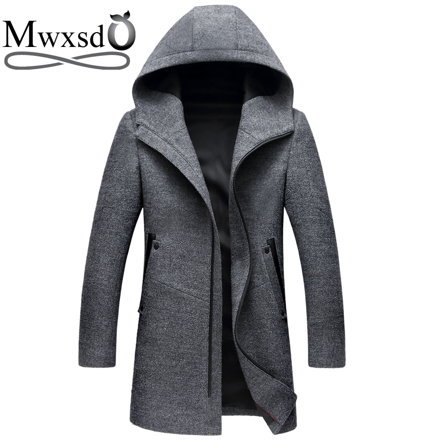 Mwxsd brand mens winter casual Wool coat hooded hat woolen overcoat Middle long thick warm jacket for male Overcoat