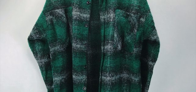 New Arrivals Kanye West Check Pattern Green Tweed Overshirt Spread Collar Cropped Jacket Vented side-seams Review