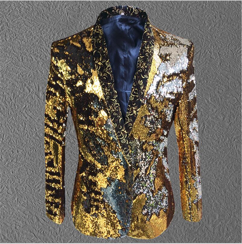 New pattern male sequins costumes jacket tide fashion host coat outfit slim blazer singer dancer show nightclub party stage bar
