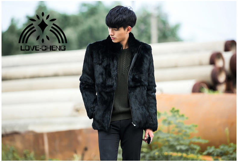 New real genuine natural whole skin rabbit fur coat men fashion jacket outwear overcoat custom any size