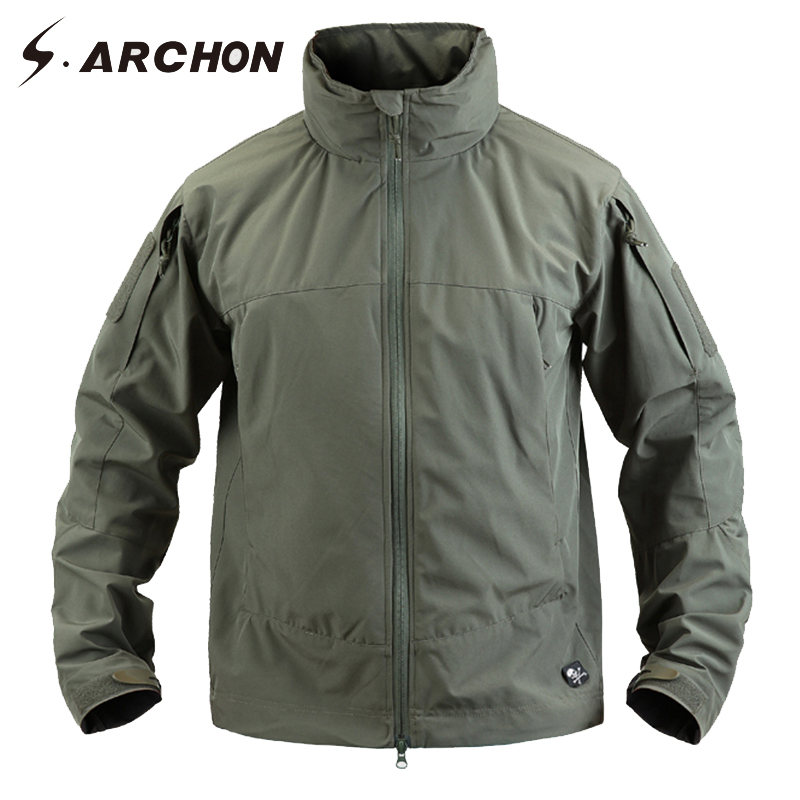 S.ARCHON Soft Shell Windbreaker Tactical Jackets Men Waterproof Hooded Windproof Military Outerwear Coat Male Casual Army Jacket