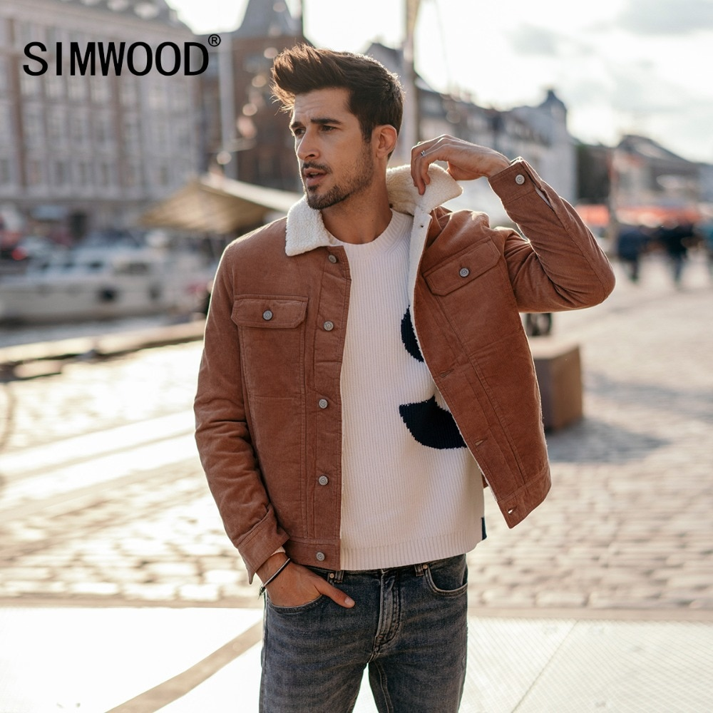 SIMWOOD New 2018 Winter Men Jackets Fashion Casual Thick Warm Faux Shearling-lined Trucker Corduroy Coats Outwear Jacket 180503