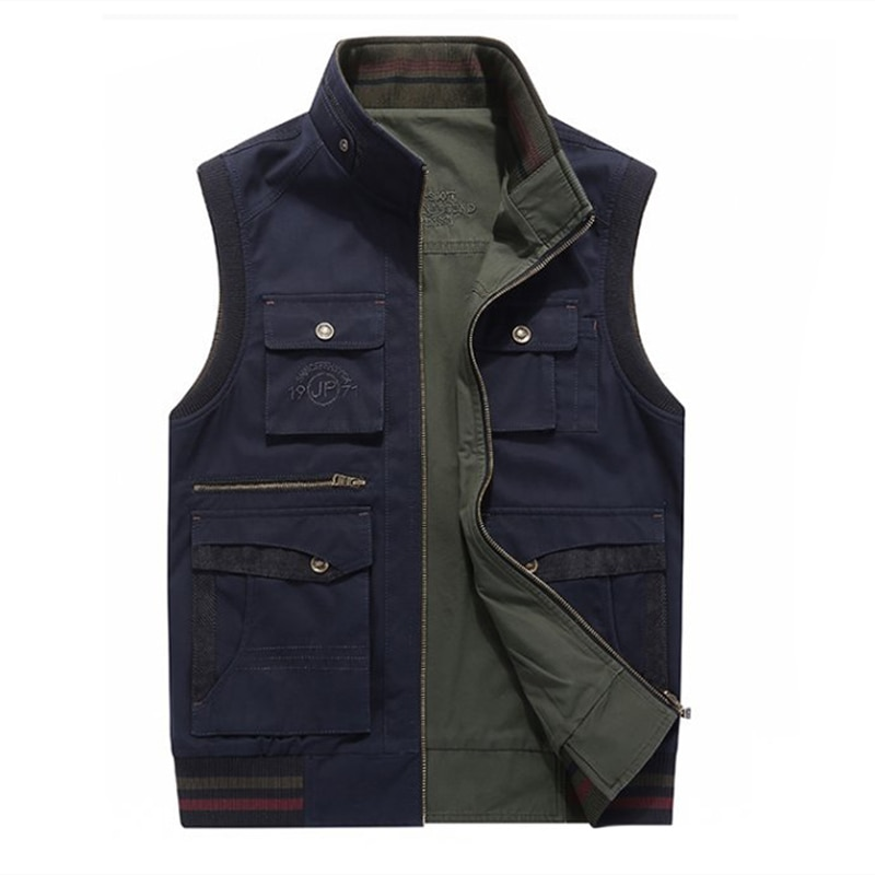 2018 Casual Men's Clothing Two Side Cotton Waistcoat for Man Plus Large Size 5XL Sleeveless Jacket Male Vest With Many Pockets