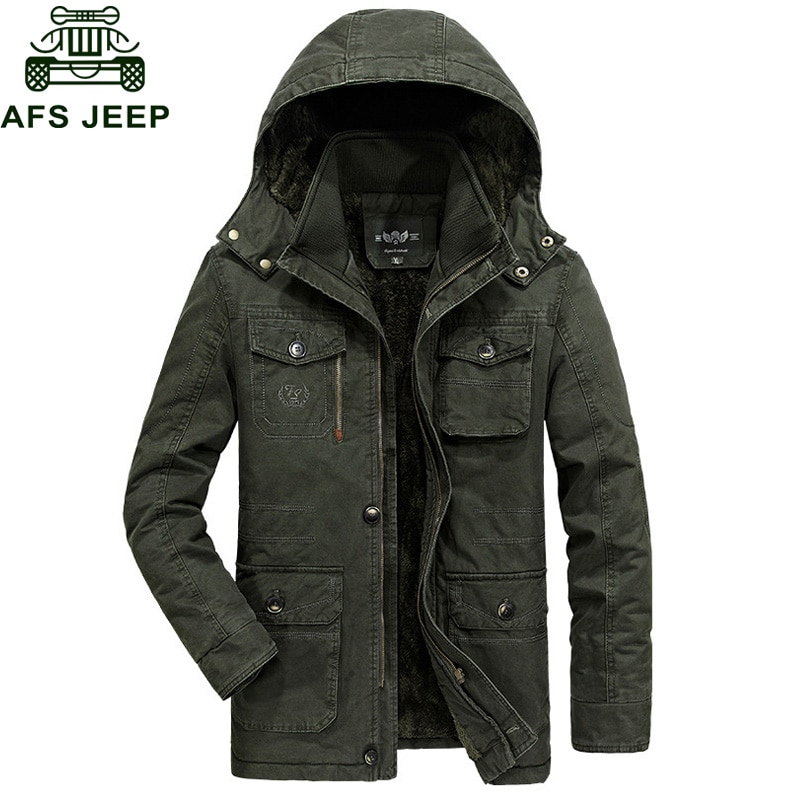 Afs Jeep 2018 Winter Mens Jackets And Coats Thick Warm Wool Liner Windbreaker Military Loose Plus Size L-6XL Men Outerwear