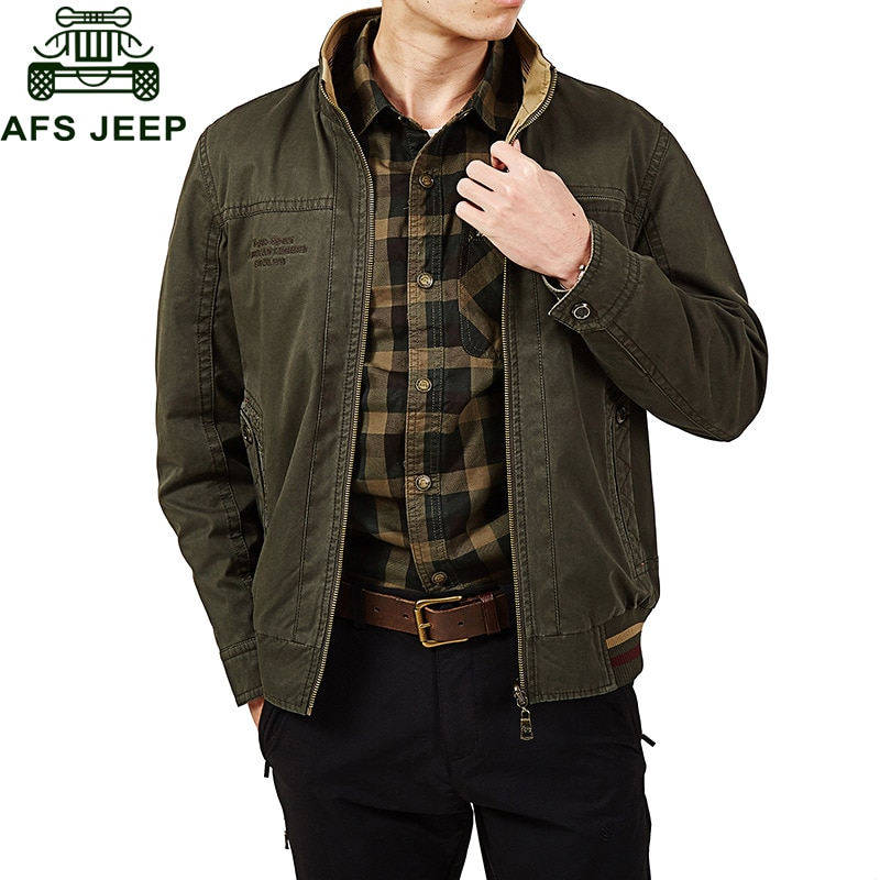 Afs Jeep Brand Men Jacket Double-sided Jacket Men Military Jacket Coat Male 100% Cotton Solid Jaqueta Masculina Plus Size L-5XL