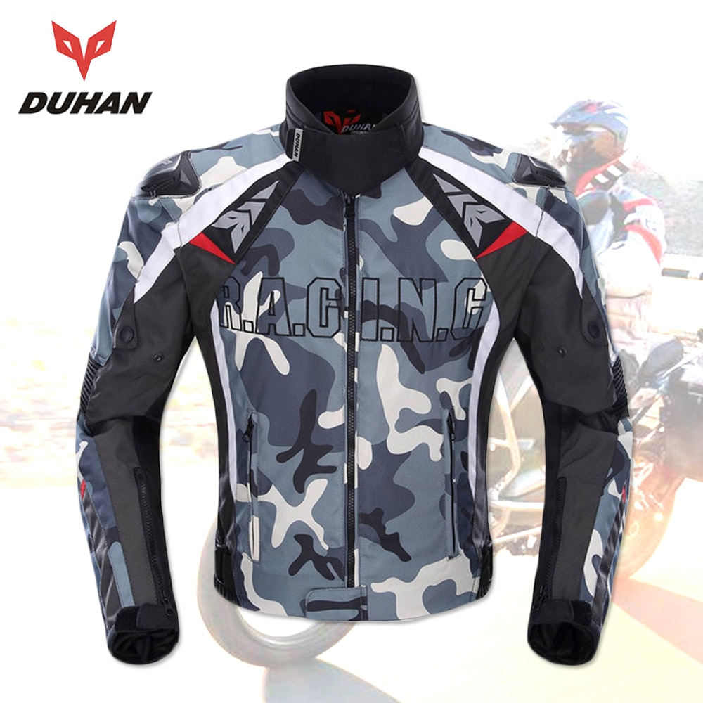 DUHAN Camouflage Men's Motorcycle Jacket Oxford Motocross Off-Road Racing Jacket With 5 Protectors Moto Guards Moto Jacket