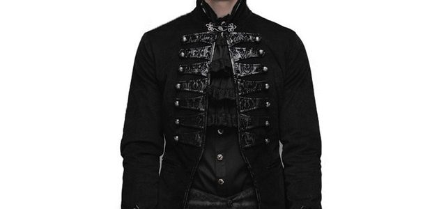 Devil Fashion Gothic Vintage Men's Victorian Jackets Steampunk Black Flocking Pattern Single Button Coats Casual Outerwear Review