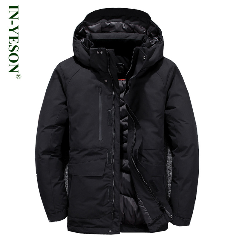 IN-YESON Brand Winter Jacket Men Hood Detachable Casual Windproof Warm White Duck Down Jacket High Quality Light Down Men