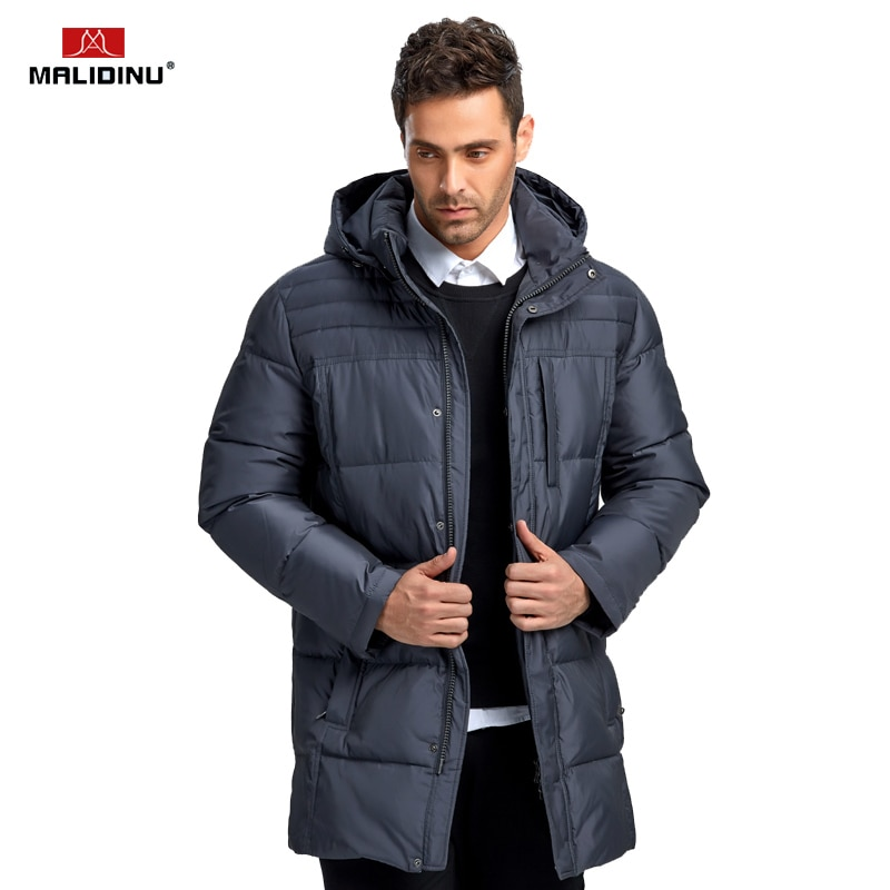 MALIDINU 2018 Fashion Men Down Jacket 70% Duck Down Winter Thick Long Down Coat Brand European Size Down Coat -30C Free Shipping