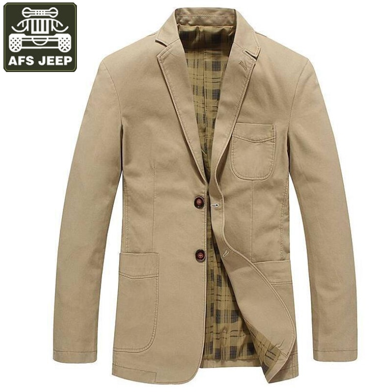 AFS JEEP 2017 Brand Clothing Spring Jacket Men Blazer Business Casual Cotton Turn-down Collar Jacket Coat Male chaqueta hombre