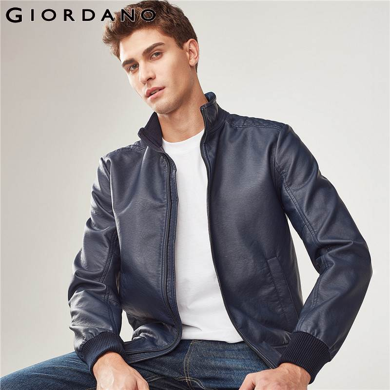 Giordano Men Bomber Jackets Stand Collar Solid Cotton PU Chaqueta De Bombardero Male Homme 2017 Brand New Jacket