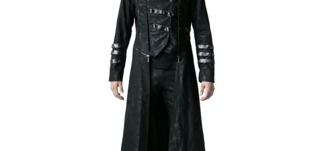 Gothic Black Winter Men's Long Coat Steampunk Twill High Collar Jackets Punk Leather Coats Overcoats with Detachable Hem and Hat Review