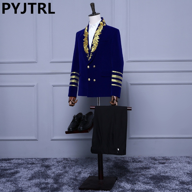 (Jacket+Pants) New Double Breasted Royal Blue Velvet Embroidery Mens Male Suits With Pants Wedding Groom Suit For Men Gentleman