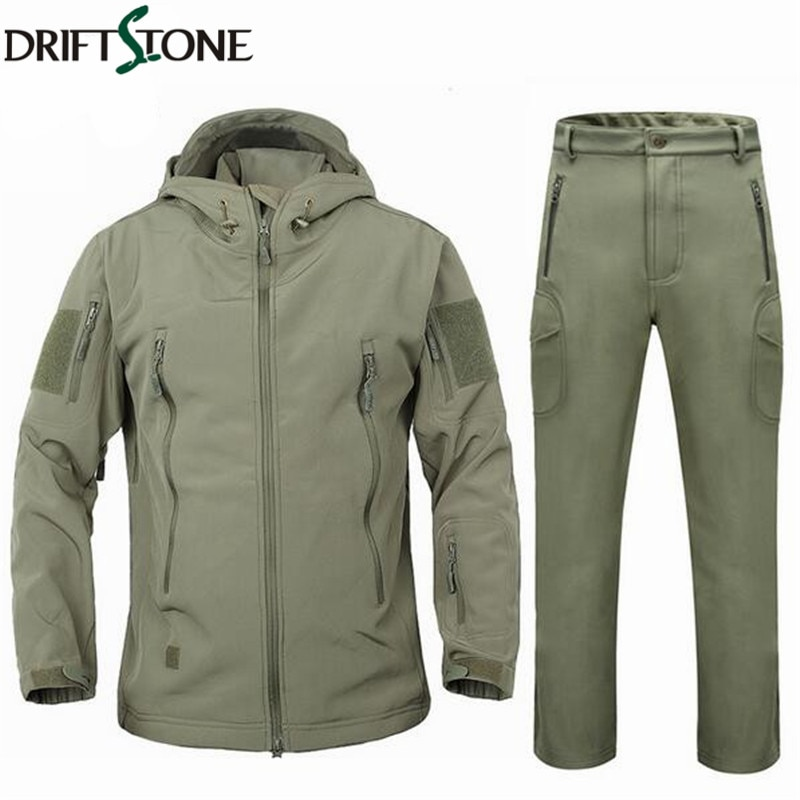 Men Soft Shell Shark Skin Clothes Set Winter Jacket Coat Waterproof Military Clothing Camouflage Tactical Jacket