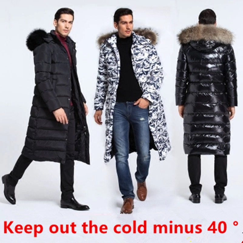 Men's jacket 2018 winter new thick raccoon fur collar super long 90 white duck down coat large size outdoor camouflage clothing