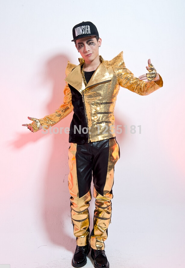 New Style Fashion Gold Male Singer Sequined Stage Costumes Stitching Sequins Jacket Show Men's DS Slim Gentleman Splice Coat