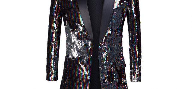 PYJTRL Male Fashion Shawl Lapel Double-sided Colorful Sequins Long Suits Jacket Blazer Masculino Slim Fit Men DJ Singer Costume Review
