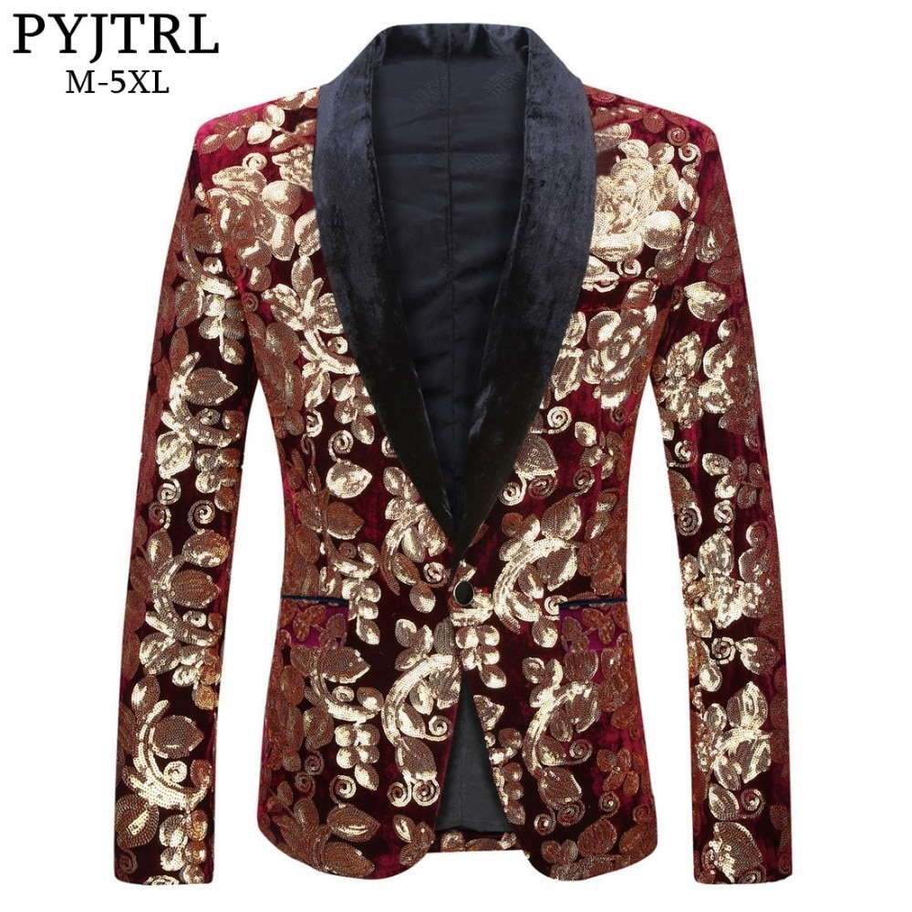 PYJTRL Male Fashion Shawl Lapel Wine Red Velvet Gold Flowers Sequins Blazer Plus Size 5XL Stage Clothes For Singers Suit Jacket