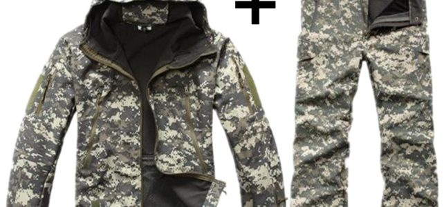 Shark Skin Tactical Military Jacket Men Army Camouflage Hike Soft Shell Jacket Set Waterproof Outdoors Windbreaker Clothing Set Review