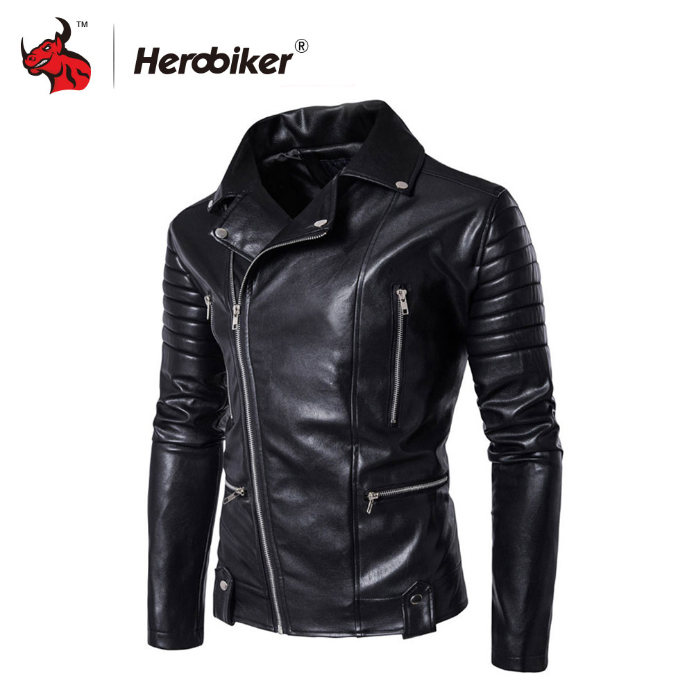 Spring Autumn Fashion Motorcycle Jackets PU Leather Moto Jackets Men Slash Zipper Lapel Biker Rider Faux Leather Coat