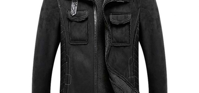 2018 M-5XL Men Suede Leather Jacket Turn-down Collar Coat Winter Warm Outwear Pockets Black Over Size Review