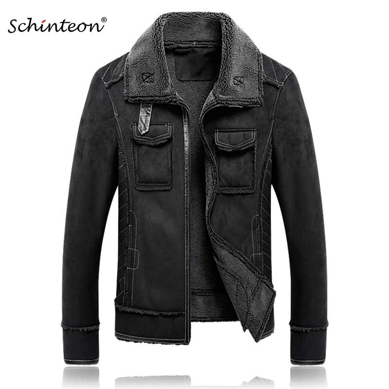 2018 M-5XL Men Suede Leather Jacket Turn-down Collar Coat Winter Warm Outwear Pockets Black Over Size