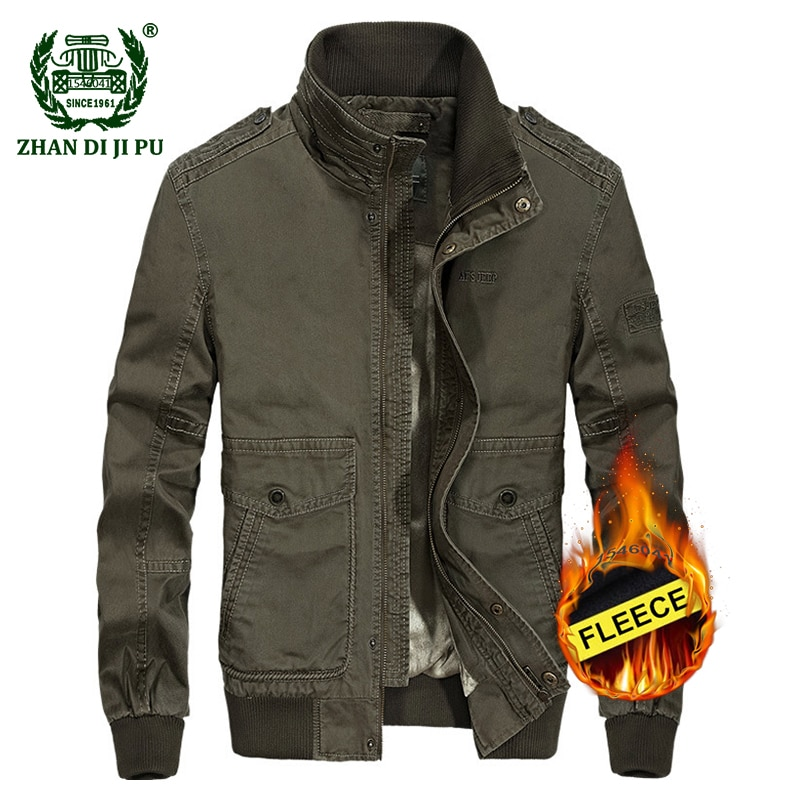 2018 Men's winter military quality casual brand 100% pure cotton khaki jacket man afs jeep army green fleece thick jackets coats