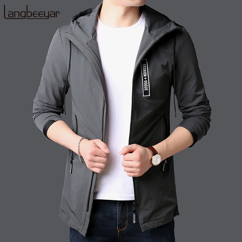 2018 New Fashion Jackets For Men Long Japanese Street Fashion Trend Overcoat Slim Fit Windbreakers Casual Coat Mens Clothing