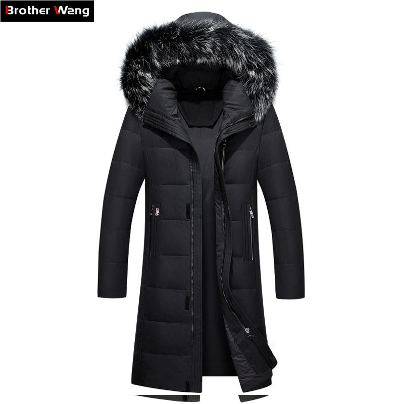 2018 Winter New Men's Long Down Jacket Clothes Thicken Warm White Duck Down Hooded Fur Collar Casual Coat Male Brand Clothing