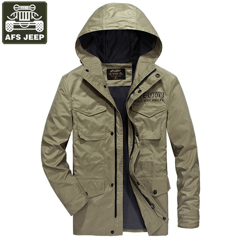 AFS JEEP Brand Jacket Men Hooded Casual Man Jacket Coat Army Military Windbreaker Solid Loose Style Size M-4XL Chaqueta Hombre