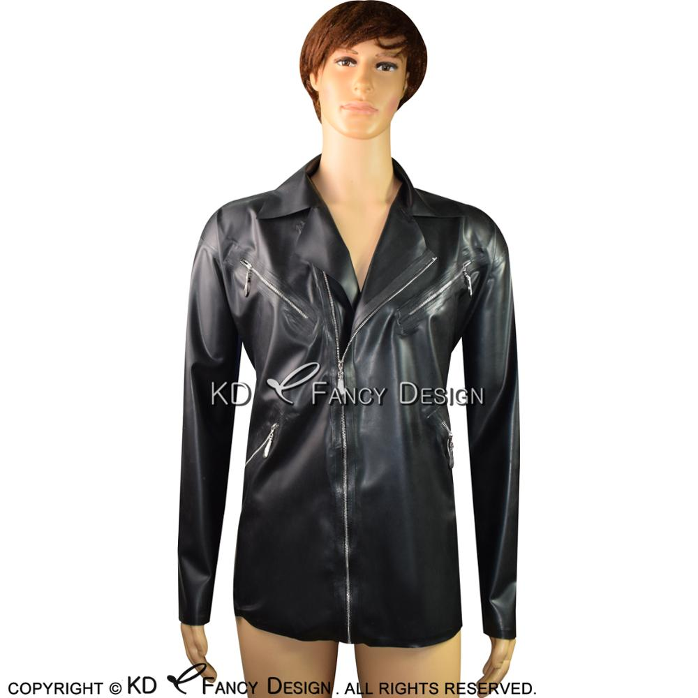 Black Sexy Latex Jacket With Decoration Zipper And Front Zip Turn Down Collar Rubber Coat YF-0055
