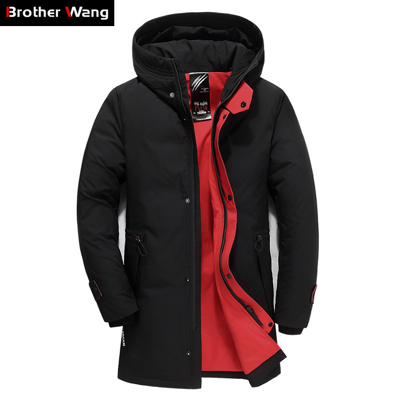 Brand Men's Clothing 2018 Winter New Down Jacket Fashion Casual Slim Hooded Thick Warm White Duck Down Long Coat Male