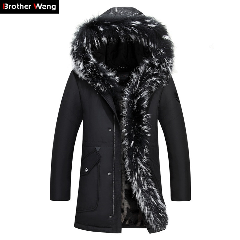 Brother Wang Brand 2018 Winter New Men's Long Down Jacket Hooded Thick Warm Coat White Duck Down Jacket Plus Size 4XL 5XL