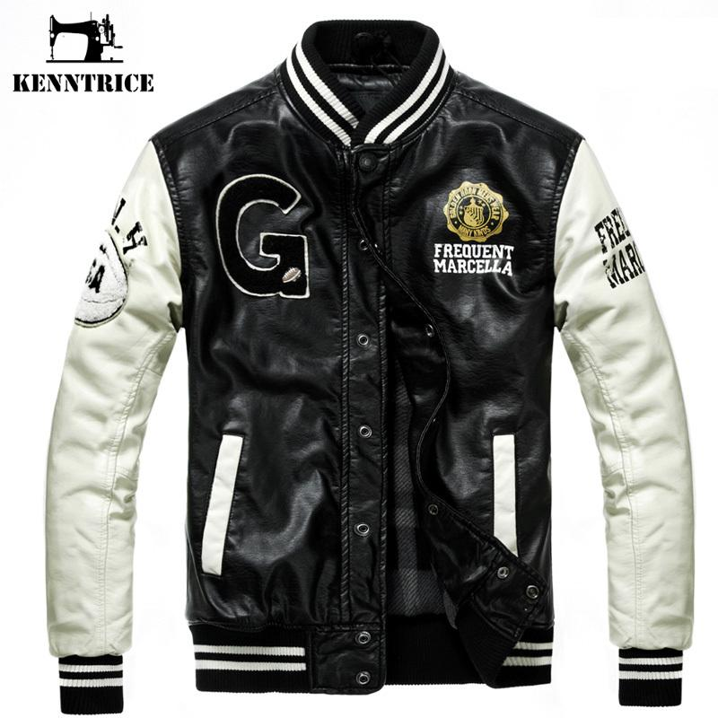 Kenntrice Baseball Leather Jacket College Jaqueta Couro Men's PU Leather Jacket Street Jacket High Quality Autumn Winter Coat