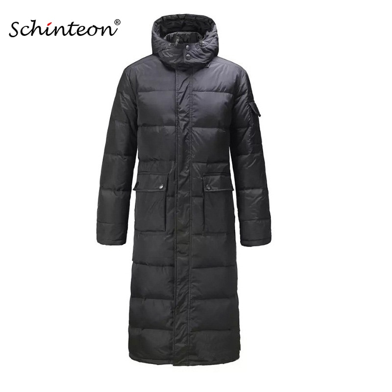 Men Long Down Coat Parkas Outwear Jacket Overcoat Hood Plus size Black Warm Winter Fast shipping