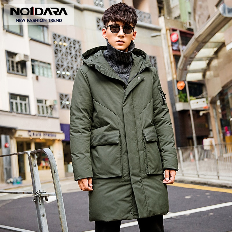 NO.1 DARA waterproof thick winter men's down jacket brand clothing hooded black long warm white duck down coat male down coat