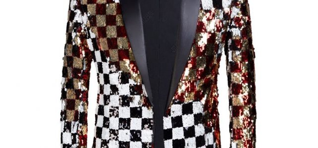 PYJTRL Brand New Men Double-sided Colorful Plaid Red Gold White Black Sequins Blazer Design DJ Singer Suit Jacket Fashion Outfit Review