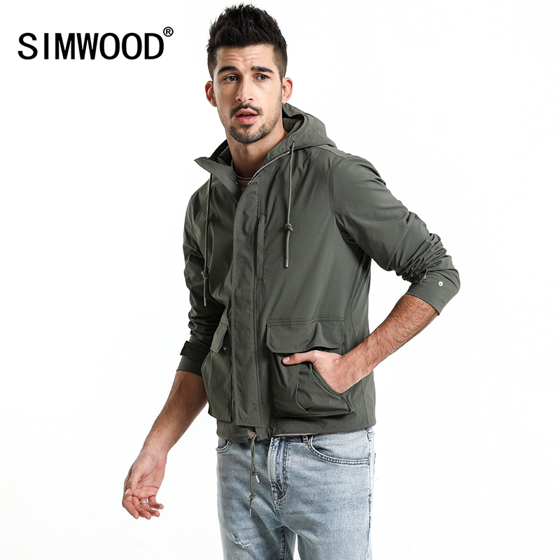 SIMWOOD 2018 Autumn Jacket Men Fashion Slim Fit Casual Coats High Quality Windbreaker Plus Size Brand Hooded Jacket 180068