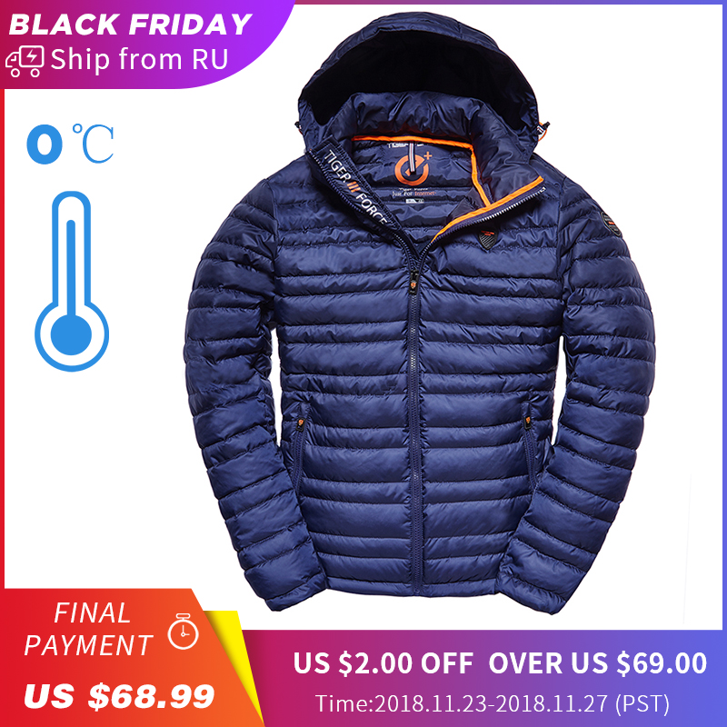 TIGER FORCE 2018 Men Jacket Spring Fashion Cotton Padded Coat with Hoody Solid Color Detachable Hooded Men's Outerwear Parka