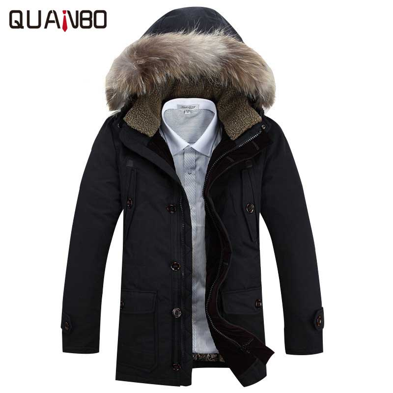 Winter Jacket Men 2018 New Brand Clothing 90% White Duck Down Men's Jacket Thick Warm Hooded Coat Fur Collar Parkas Hot Sale