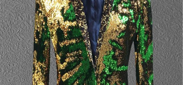 jacket men sequin Gold Green Blazer Men Suit Coat Male Costume Prom Wedding Groom Outfit Singer Black Party Stage Review