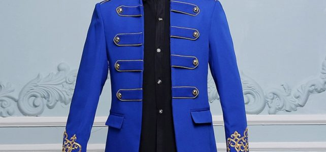 long blue jacket Punk male prom wedding groom stage DS costume singer nightclub bar show jazz Hip Hop performance outerwear coat Review